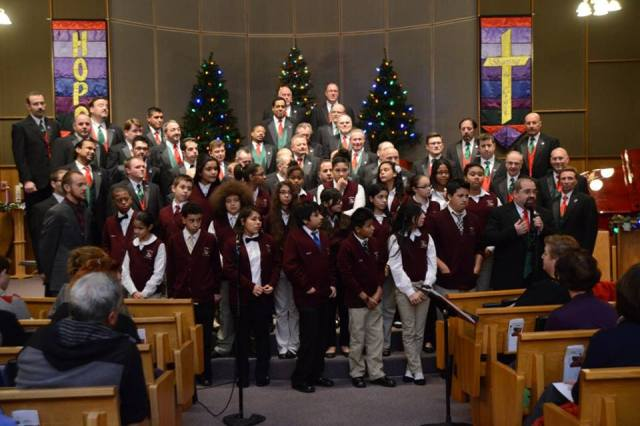 Members of the Segue Institute for Learning Chorus join the Providence Gay Mens Chorus at a Christmas Concert at Wesley UMC. (2013)