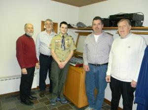 Rev. Bill Flug, Mike Cole, Austin Genannt, Keith Briggs, Martin Briggs, at Wesley UMC.